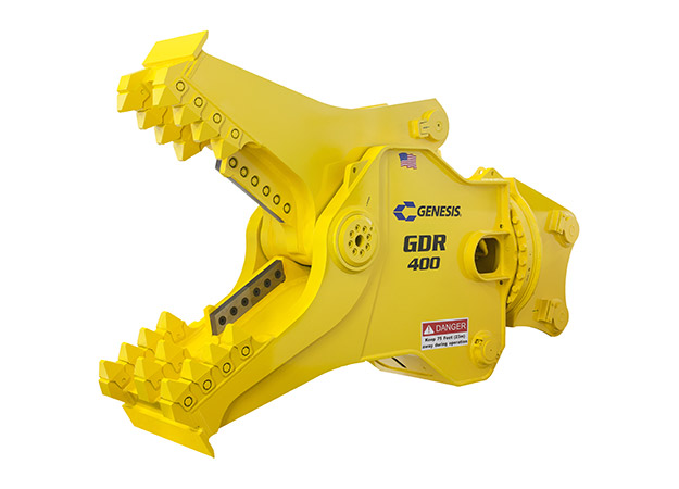 GDR (Genesis Demolition Recycler) attachment with open jaws facing left.