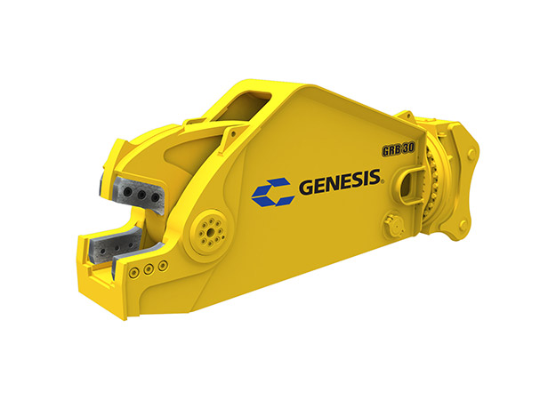 Yellow Genesis rail cutting shear facing left.