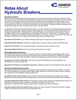Genesis Notes About Hydraulic Breakers literature.