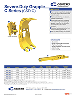 Spec sheet for GSD C Series (Genesis Severe-Duty Grapple).