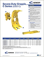 Spec sheet for GSD C Series (Genesis Severe-Duty Grapple).