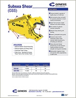 Spec sheet for GSS (Genesis Subsea Shear).