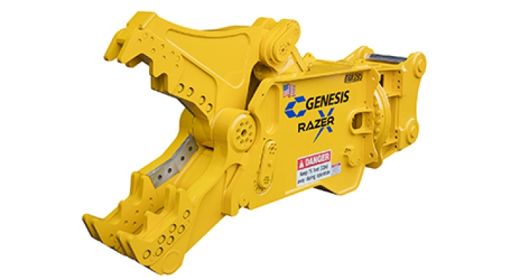 Yellow Genesis GRX 295 with open jaw facing left.