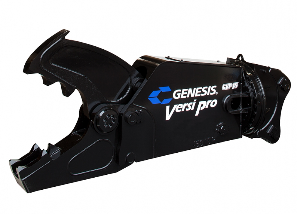 Genesis Versi Pro 15 with Concrete Cracker Jaw attachment facing left.