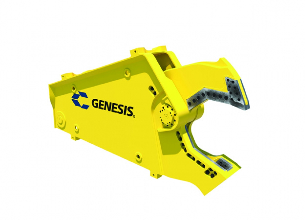 Yellow Genesis Subsea Shear with open jaw facing right.