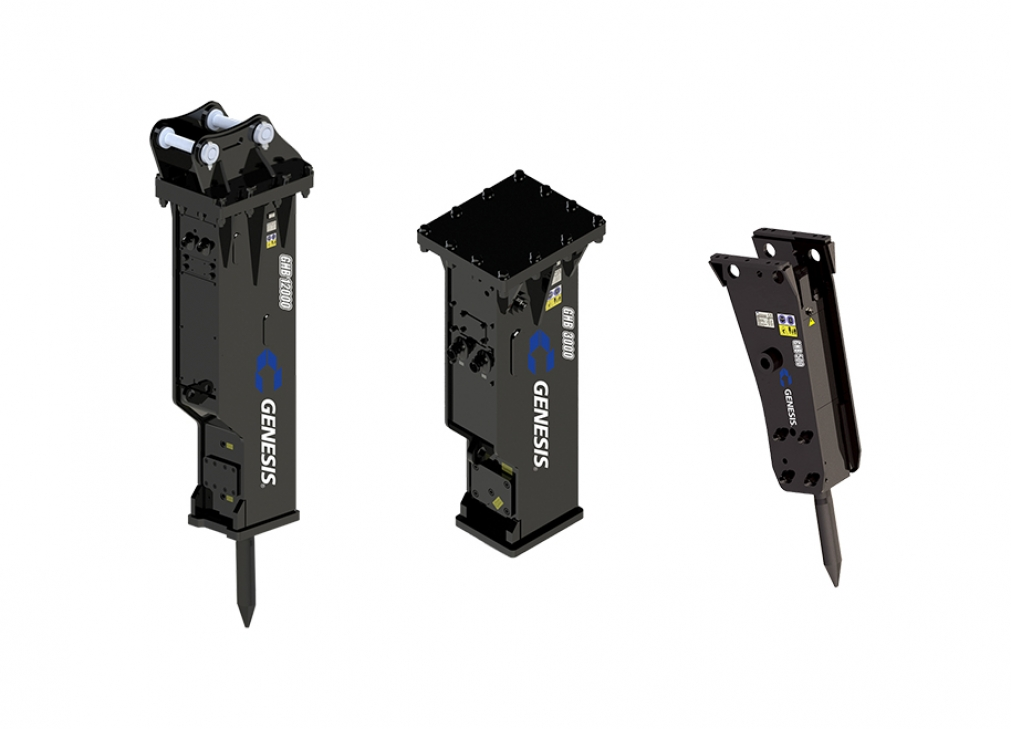 Three models of the GHB (Genesis Hydraulic Breaker) attachment.