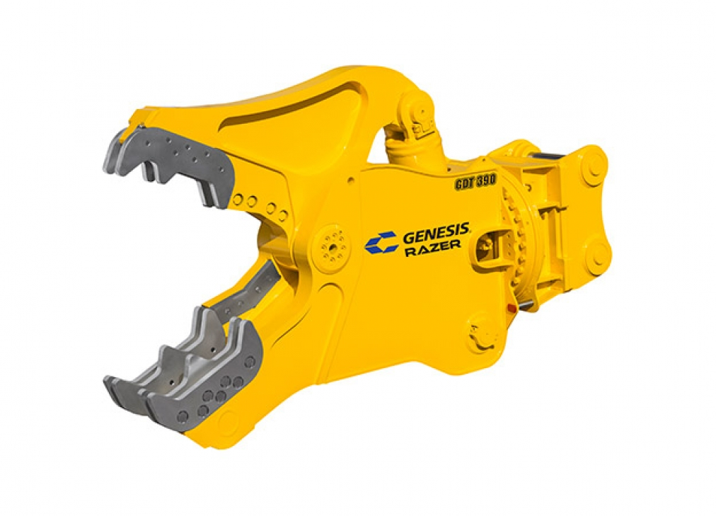 Yellow Genesis Razer Demolition Tool with open jaws facing left.