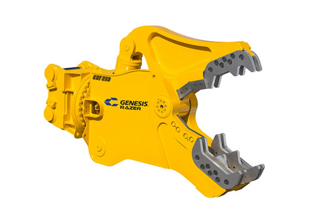 Yellow Genesis Razer Demolition Tool with open jaws facing right.