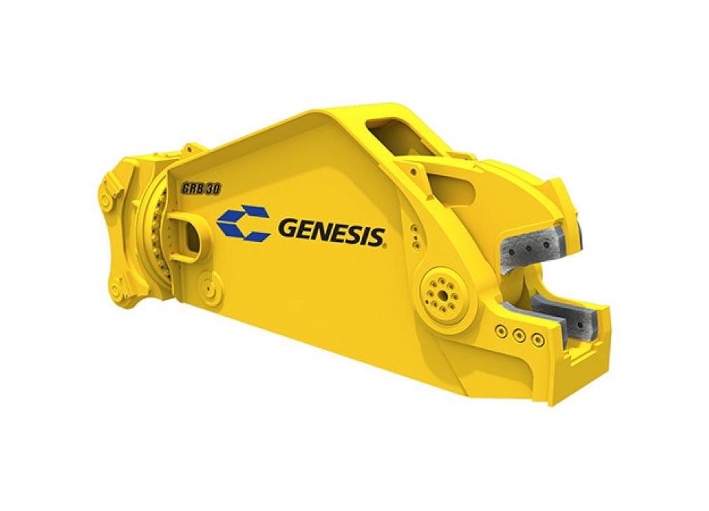 Yellow Genesis rail cutting shear facing right.