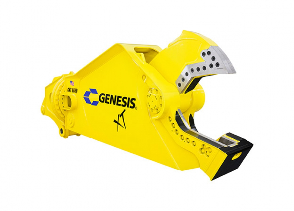 Yellow Genesis XT mobile shear with open jaw facing right.