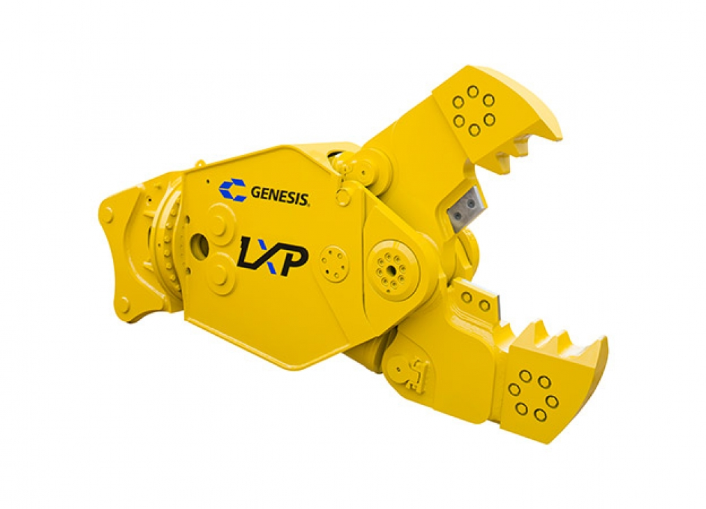 Genesis LXP with Concrete Cracker Jaw attachment with open jaws facing right.