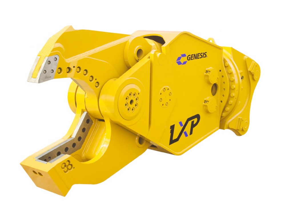 Yellow Genesis LXP with open shear jaw facing left.