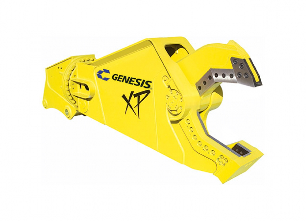 Yellow Genesis XP mobile shear with open jaw facing right.